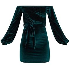 Emerald Green Velvet Balloon Sleeve Wrap Front Bardot Bodycon Dress (408.480 IDR) ❤ liked on Polyvore featuring dresses, emerald green velvet dress, blue body con dress, bodycon dresses, body conscious dress and emerald green cocktail dress