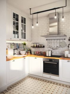 There is no question that designing a new kitchen layout for a large kitchen is much easier than for a small kitchen. A large kitchen provides a designer with adequate space to incorporate many convenient kitchen accessories such as wall ovens, raised. Home Decor Kitchen, Interior Design Kitchen, New Kitchen, Home Kitchens, Kitchen White, Kitchen Ideas, Small Kitchens, Kitchen Small, Kitchen Cook