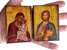 Virgin Mary - Jesus Christ - 20 small Orthodox Byzantine icons on wood for Baptism Favor (8.4 cm x 6.3 cm)