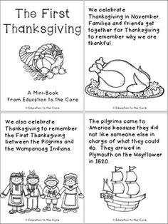 First Thanksgiving Printable Mini Book | November | Pinterest ...
