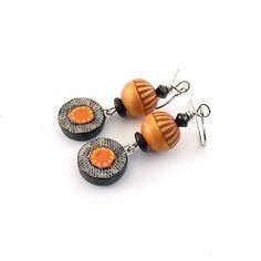 Orange Black Polymer Earrings  Silver Earrings  by CinLynnBoutique