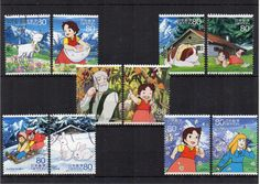 10 Japanese postage stamps, Heidi in the Swiss Alps, childrens character. Cartoon, animation, anime. Please note this is a stock image. For crafts or collecting. Would make lovely party invites, framing, gift tags, art project materials and more.   Let stamps add another layer of story to your crafts.  Stamps will be sent securely packaged in a small envelope to fit through your letterbox. Pay only one P&P charge no matter how many items you purchase in one order. Display card not include...