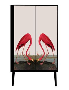 Kerrie Brown - Cabinet - Flamingos , For enquiries please contact sales@kerriebrown.com (http://www.kerriebrown.com/cabinets/jungle-birds/cabinet-flamingos/)