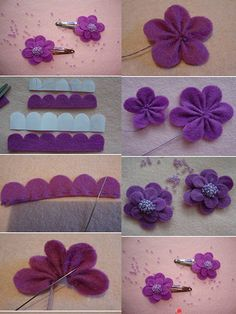 by rene diy cute felt flowers purple clip tutorial with beads - hea cloth flower making Shabby Shack is now closed. Cloth Flowers, Felt Flowers, Diy Flowers, Fabric Flowers, Paper Flowers, Felt Diy, Felt Crafts, Diy Crafts, Diy Hair Bow Holder