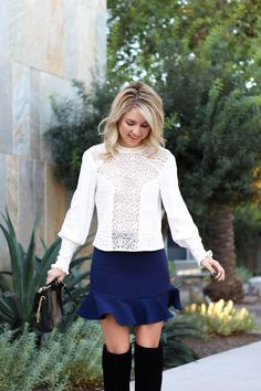 blue skirt   fall skirt outfit   lace blouse   outfit   simply sutter