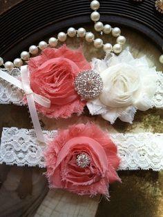 Wedding Garter - Garters - Toss Garter - Ivory Lace Garter Set - Bridal Garters - Vintage - Coral -  Wedding - Rhinestone