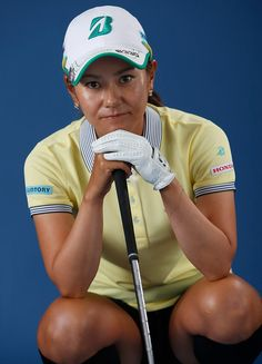 Ai Miyazato Photos Photos - Ai Miyazato of Japan poses for a portrait prior to the Meijer LPGA Classic presented by Kraft at Blythefield Country Club on July 22, 2015 in Grand Rapids, Michigan. - Meijer Classic Presented By Kraft - Portraits
