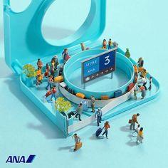 """"""". """"お客さまと手荷物は切っても切れない関係です"""" . ANA ( @ana.japan @allnipponairways_official )をテーマに作品を作らせていただきました。 . #ANA_JP #Little_ANA_JP #Little_ANA #空港 #手荷物受取所 #BaggageClaim #テープカッター #TapeCutter ."""" Photo taken by @tanaka_tatsuya on Instagram, pinned via the InstaPin iOS App! http://www.instapinapp.com (03/17/2016)"""