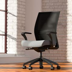 Amplify Task Chair by Sit On It.  Adjustable lumbar bands and breakthrough design give the powerful and affordable Amplify optimum ergonomic support with the lure of aerodynamic comfort.