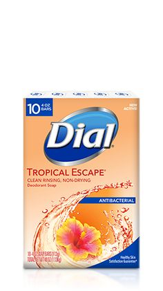 """Make your """"me"""" time pampering as well as cleansing with Dial® Tropical Escape Antibacterial Deodorant Bar Soap. Dial Bar Soap, Feminine Products, Perfume Body Spray, Vintage Hotels, Bathroom Stuff, Bath Soap, Mouthwash, Suitcases, Bottle Design"""