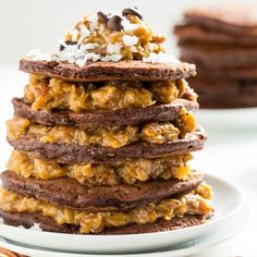 German Chocolate Pancakes with a thick and gooey Coconut-Pecan Syrup.