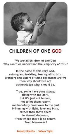Sahaja yogini Armiaty Bhabha's poem - Children of One God