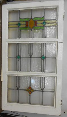 "LARGE OLD ENGLISH LEADED STAINED GLASS WINDOW Triple Pane Abstract 21.75""x38.75"""