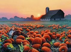 Art of Russell Cobane with pumpkins in the field.