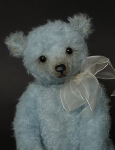 "Vernon - a 14"" pale blue mohair artist bear by Humble-Crumble Bears"