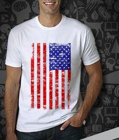 Flag Men's Tshirt  American Flag Design for Men's Tshirt by TUKUNO