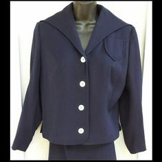 1950s Navy Blue Women's Suit Sailor Collar MOP Buttons Medium to Large from toinetterl on Ruby Lane