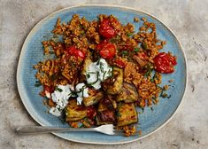 Yotam Ottolenghi's tomato bulgur, aubergine and yoghurt sauce. Whether tinned or as paste, tomatoes add robust flavour to this delicious duo Vegetable Recipes, Vegetarian Recipes, Cooking Recipes, Healthy Recipes, Veggie Meals, Easy Recipes, Ottolenghi Recipes, Yotam Ottolenghi, Fusion Food