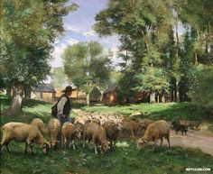 A Shepherd and his Flock :: Julien Dupre - Village life Oil Painting For Sale, Paintings For Sale, Oil Paintings, Sheep Illustration, Beaux Arts Paris, French Paintings, Sheep Art, The Good Shepherd, Oil Painting Reproductions