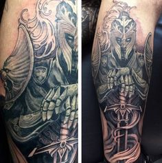 Knight With Sword Tattoo Designs For Men