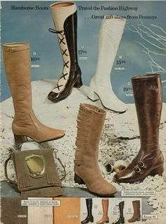 Vintage boots for women from a 1970 catalog. 70s Women Fashion, Sixties Fashion, Retro Fashion, Vintage Fashion, Women's Fashion, American Fashion, 90s Boots, High Boots, Fashion Through The Decades