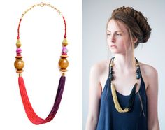 Long Fringe Necklace, Chunky Bead Necklace, Pink and Purple Necklace, Beaded Statement Necklace
