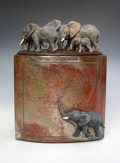By Zsuzsa Monostory Ceramic Boxes, Ceramic Jars, Ceramic Clay, Elephant Love, Elephant Art, Elephant Stuff, Ceramic Animals, Clay Animals, Animal Sculptures