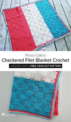 Checkered Filet Blanket Crochet