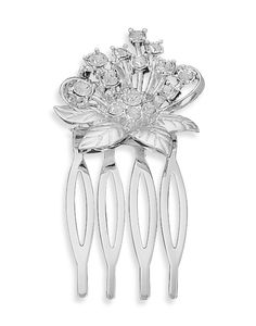 Silver Plated Swarovski Crystal Flower Hair Comb
