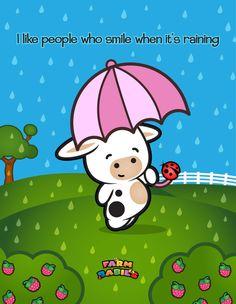 Farm Babies / #kawaii #cute #love #quotes #illustration#baby #farm #animals #cartoon #cat #cow #rain