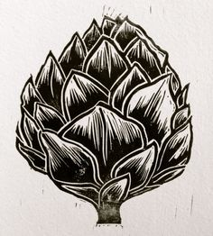 Artichoke lino cut print