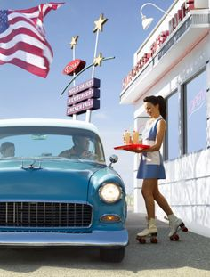 Stock Photo : Vintage car and carhop at retro diner The Effective Pictures We Offer You About Classic Cars 1960 A quality picture can tell you many things. You can find the most beautiful pictures tha 1950s Aesthetic, Diner Aesthetic, Aesthetic Vintage, Vintage Logo, Mode Vintage, Vintage Cars, Retro Vintage, Antique Cars, Vintage Trends