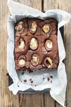 Chocolate Brownies for easter, with creme eggs on top. This would work with the full size ones or the mini ones, as well as the creme egg bars throughout the year!