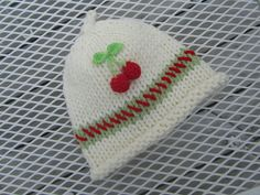 Knitted Baby Hat  Hand Knit Baby Hat with Cherries by UpNorthKnits, $28.00