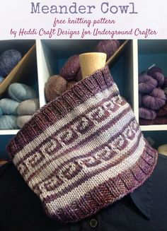 Free knitting pattern: Meander Cowl by Heddi Craft Designs for Underground Crafter | This stunning, unisex cowl is much easier to knit than you would guess. It uses slip stitches for easy colorwork!