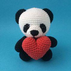 Crochet Small Panda Bear with a Heart Handmade Amigurumi Crochet Panda, Crochet Cactus, Panda Craft, Toy Craft, Christmas Panda, Gifts For Newborn Girl, Organic Baby Toys, Little Girl Toys, Crochet Hair Accessories