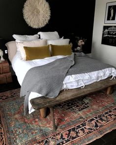 I like the bedding - mustard, grey, pink and white