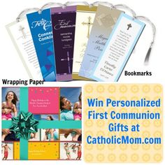 Win two special, personalized First Communion resources -- bookmarks and wrapping paper -- to enhance your celebration! Enter online at http://catholicmom.com/2013/04/15/win-lovely-personalized-first-holy-communion-products/