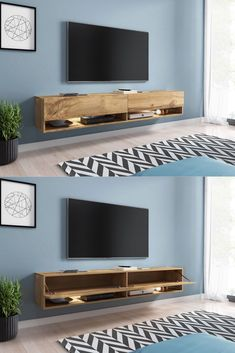 Sober and particularly trendy, this ACAPULCO designer suspended tv-hifi unit has a large storage capacity to accommodate your TV screen and all your multimedia equipment Living Room Tv, Small Living Rooms, Living Room Modern, Tv Unit Decor, Tv Wall Decor, Interior Design Living Room, Living Room Designs, Tv Wanddekor, Bedroom Tv Wall