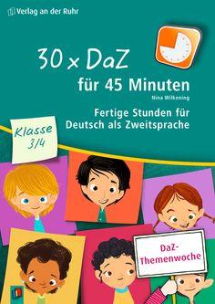 """++DaZ-Themenwoche++ Gerade junge DaZ-Lerner und Kinder mit Sprachförderbedarf brauchen Materialien, die sie tatsächlich dort abholen, wo sie stehen. Die sofort durchführbaren Stunden aus """"30 x DaZ für 45 Minuten - Klasse 3/4"""" sind speziell auf die Fähigkeiten und Interessen von Dritt- und Viertklässler zugeschnitten. Werfen Sie doch mal einen Blick rein! #DaZ #Deutsch #Zweitsprache #Schule #Grundschule"""