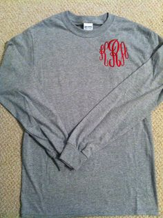 Monogrammed Long Sleeve Tshirt by Appligrams on Etsy