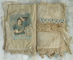 Mixed Media Fabric Collage Book of Girls with Flowers   eBay