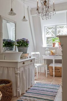 cottage bathroom♥ Never thought of using a skirted table as a vanity before. Cute idea!