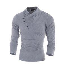 2016新しい秋のメンズ100%コットン斜めボタン襟tシャツファッション男性ロングスリーブtシャツスリムフィットtシャツソリッドティーシャツ
