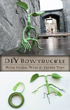 DIY Poseable Pickett the Bowtruckle from Fantastic Beasts and Where to Find Them! Wizarding World of Harry Potter Craft. Made out of floral tape and wire. #bowtruckle #pickett #fantasticbeasts