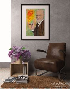 take a seat with Freud. Sigmund Freud / painting technique on aquarelle / 50 x 70 cm Sigmund Freud, Take A Seat, Painting Techniques, Accent Chairs, Contemporary Art, Artwork, Furniture, Home Decor, Watercolor Painting