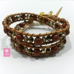 """A mitad de semana pero con muuuucha fuerza!"" - Leather Wrap Bracelet with Czech Crystals - www.neacreations.com - #neacreations #jewelry #bracelet #bracelets"