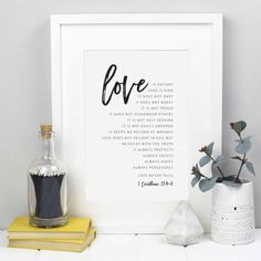 This Love is Patient Print makes a brilliant Christian wedding gift or anniversary present, and features the passage from 1 Corinthians in a modern mo Wedding Scripture, Baby Poster, Love Is Patient, Bible Art, Wedding Gifts, Wedding Ideas, Photo Book, A4, Christian