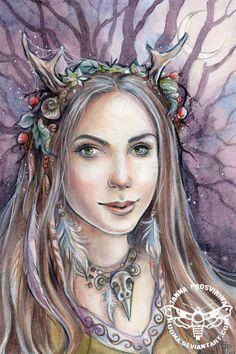 Witch Art Print Elven Elves Forest lady Sorceress by Jannafairyart Forest Elf, Mystical Forest, Mermaid Fairy, Unicorns And Mermaids, Goddess Art, Witch Art, Watercolor Artwork, Fairy Art, Fantasy Creatures