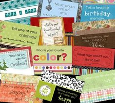 """free printable for a set of conversation starter """"cards""""... but would be a great to use as journal prompts... oh yeah!"""